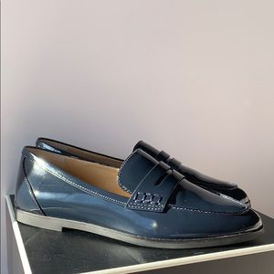 Michael Kors Navy Patent Leather Loafers